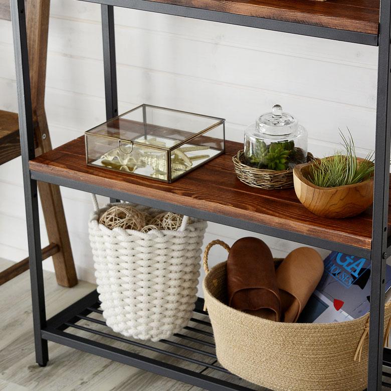 シェルフ アイアン 3段 木製棚 本棚 棚 ラック ブラックアイアンフレーム