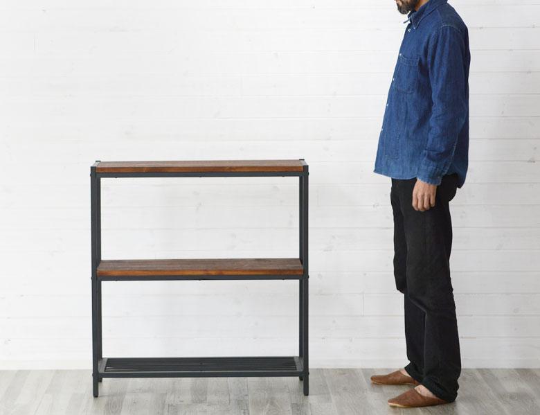 シェルフ アイアン 2段 木製棚 本棚 棚 ラック ブラックアイアンフレーム