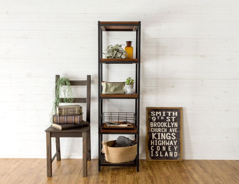 シェルフ アイアン 5段 木製棚 本棚 棚 ラック ブラックアイアンフレーム