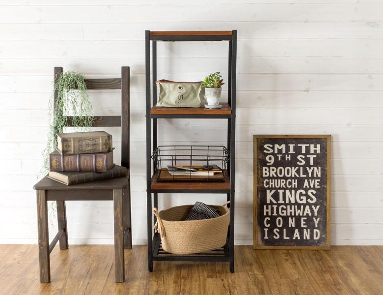 シェルフ アイアン 4段 木製棚 本棚 棚 ラック ブラックアイアンフレーム