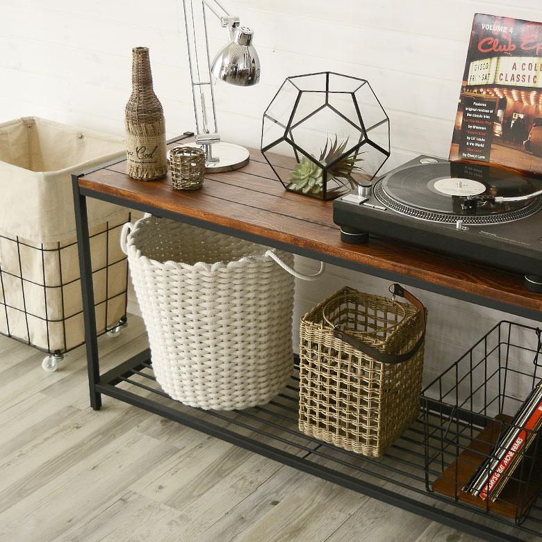ローシェルフ シェルフ 棚 2段 木製棚 テレビボード TVボード 本棚  アイアンフレーム