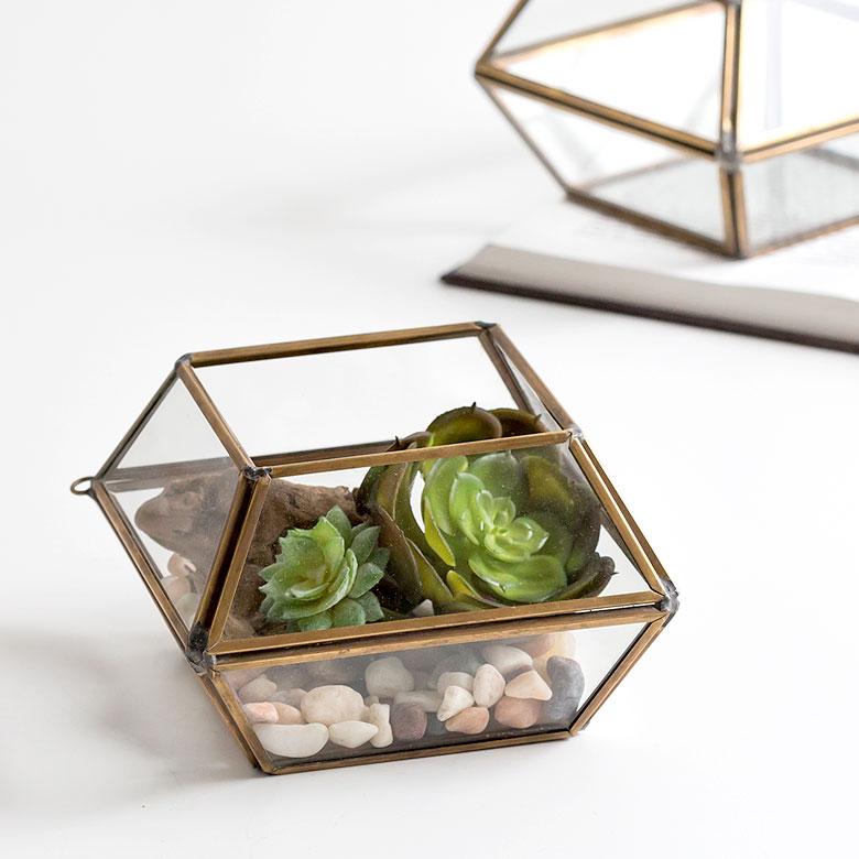 テラリウム ガラスボックス ガラスケース 容器 多面体 10面体 ディスプレイケース 小物入れ 小物収納