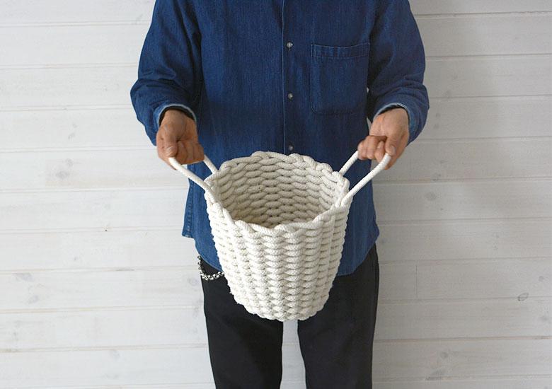 コットンロープ バスケット 綿ロープ プランターカバー かご 整理 収納