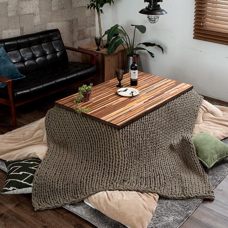寄木細工調の柄が特徴のおしゃれなリビングこたつ