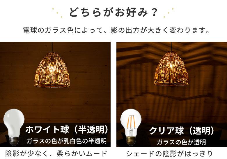 電球のガラス色で変わる陰影の違い