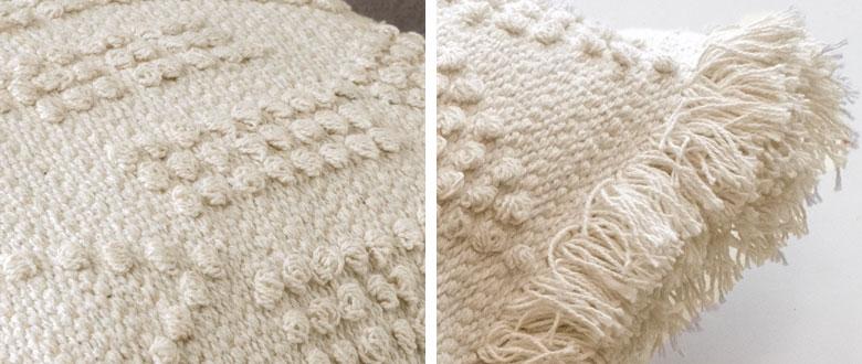 立体的な織りと大胆なフリンジがポイント