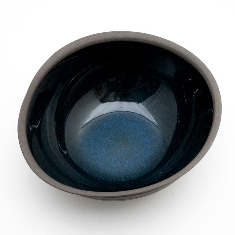ブルーガラスの釉薬掛け
