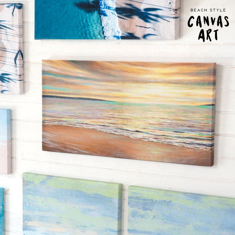 サンセットビーチ  ビーチフォトグラフィック 壁掛けキャンバスアート。