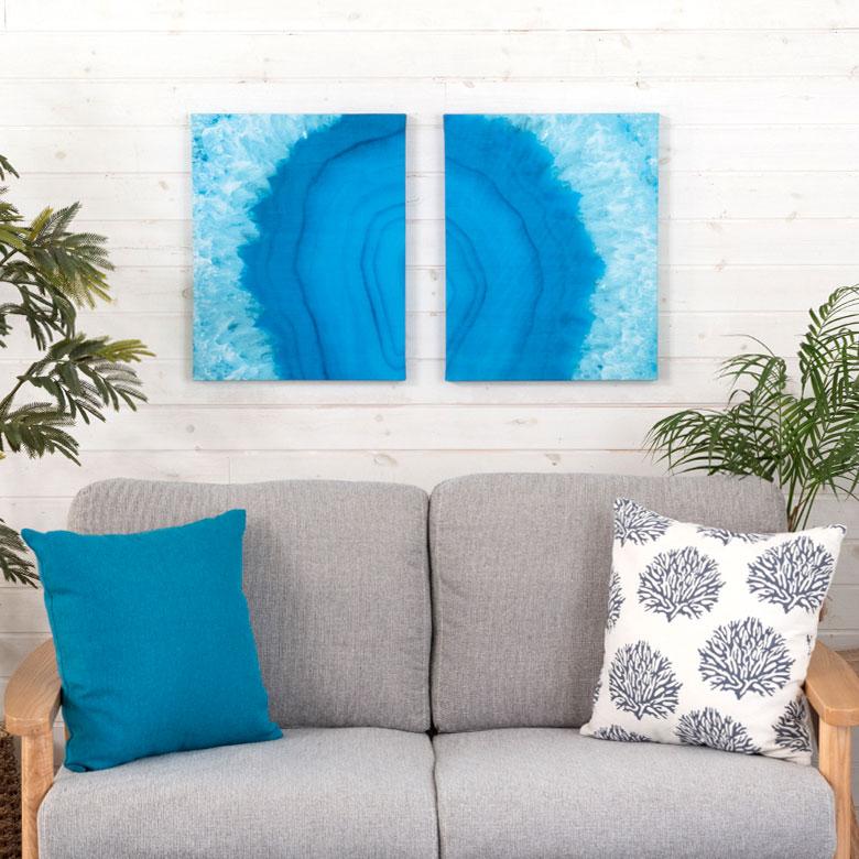 ブルーオーシャンを描いたグラッフィクアート ビーチスタイル 壁掛けキャンバスアート。
