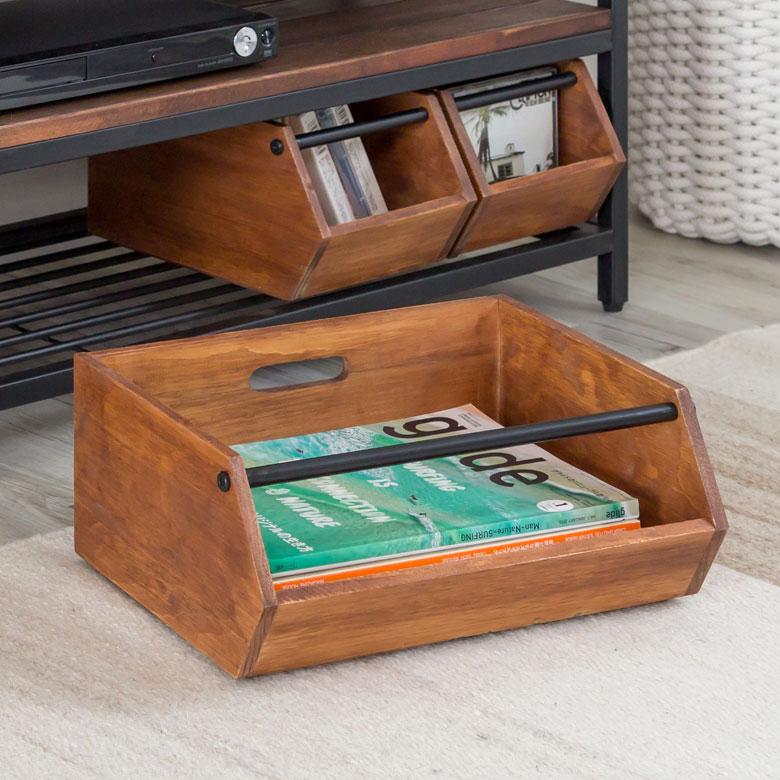 スタッキングできるウッドの収納ボックス