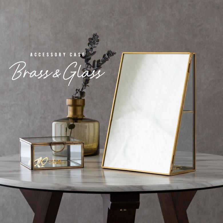 ガラスと真鍮のアクセサリーケース