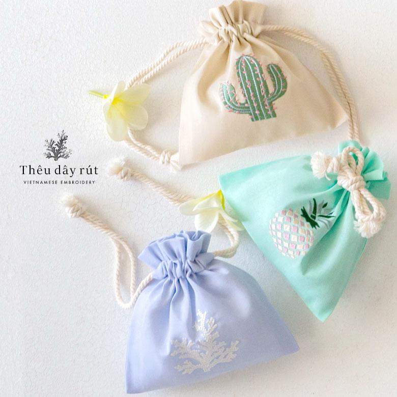 ベトナム刺繍 オリジナル巾着袋 Sサイズ