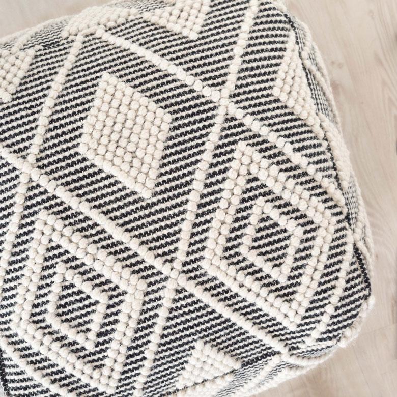 ポコポコした編み目で表現されたデザイン