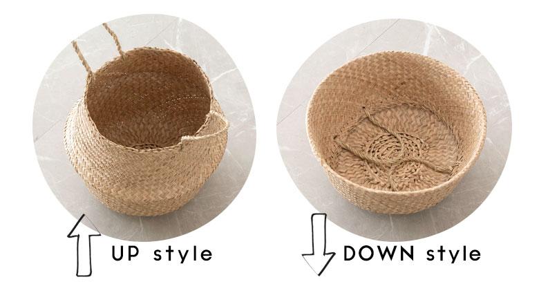 1つで2パターン使える収納バスケット