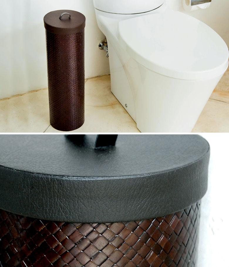 レザーのような編み目が特徴のパンダン製トイレットペーパー収納ケース