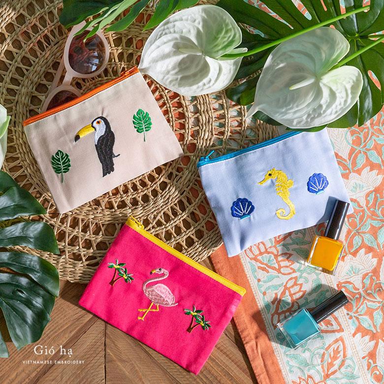 ベトナム刺繍のオリジナルバイカラーポーチ