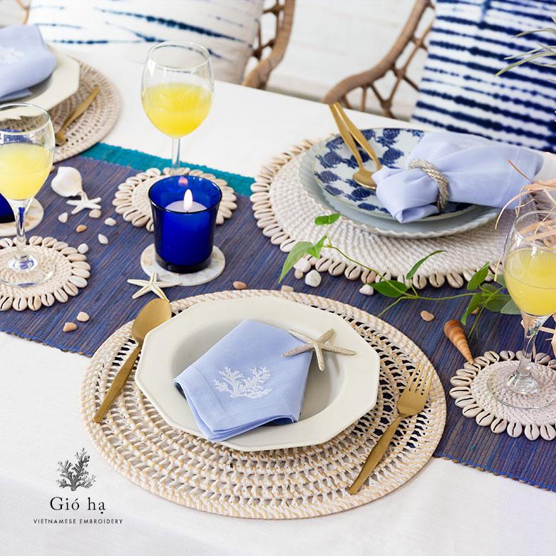 ベトナム刺繍のオリジナルテーブルナプキン