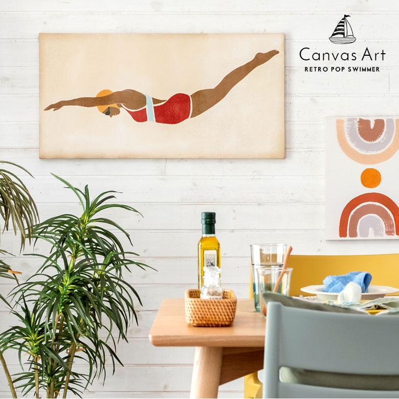 レトロポップ・スイマー。壁掛けキャンバスアート