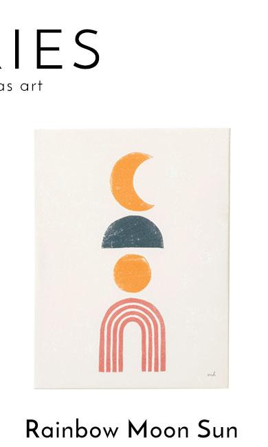 虹と月と太陽のシンボルのアート。