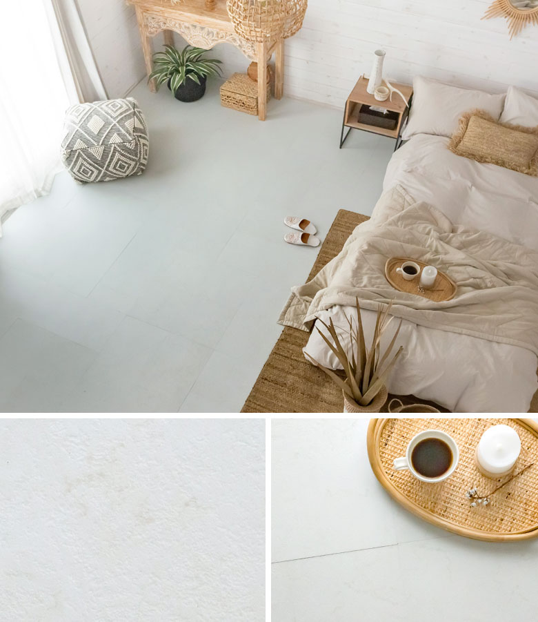 blanc marble。大理石調フロアタイル。ホワイト