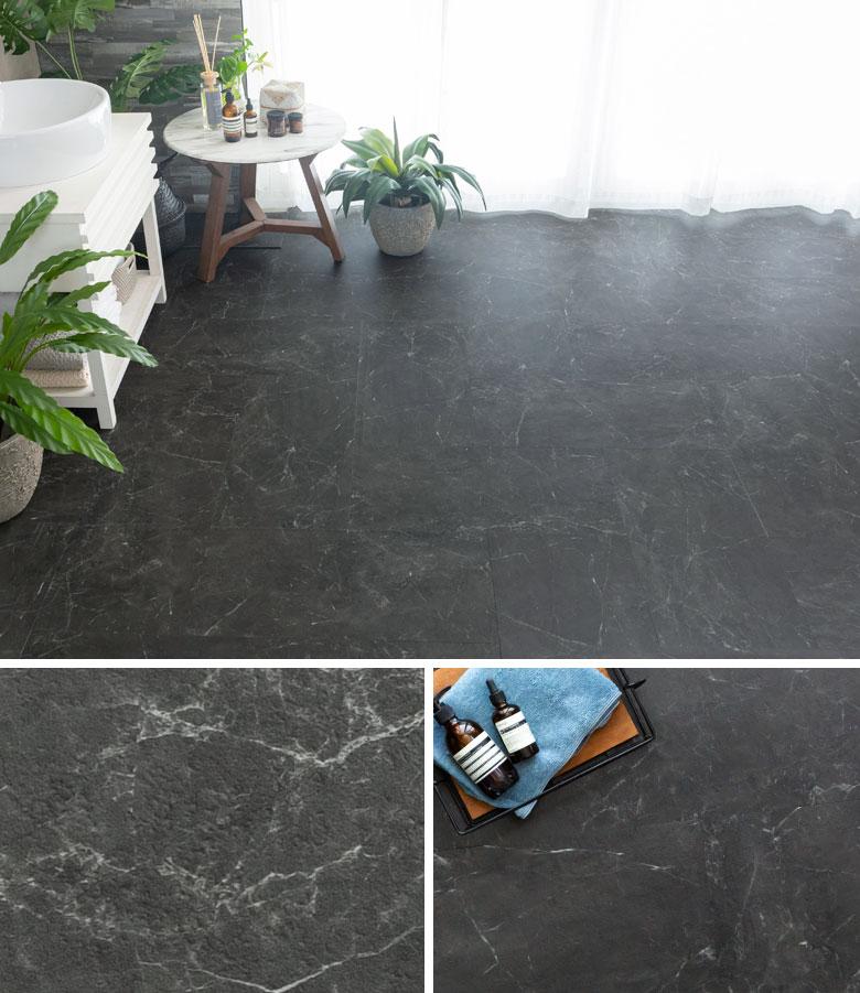 noir marble。大理石調フロアタイル。ブラック