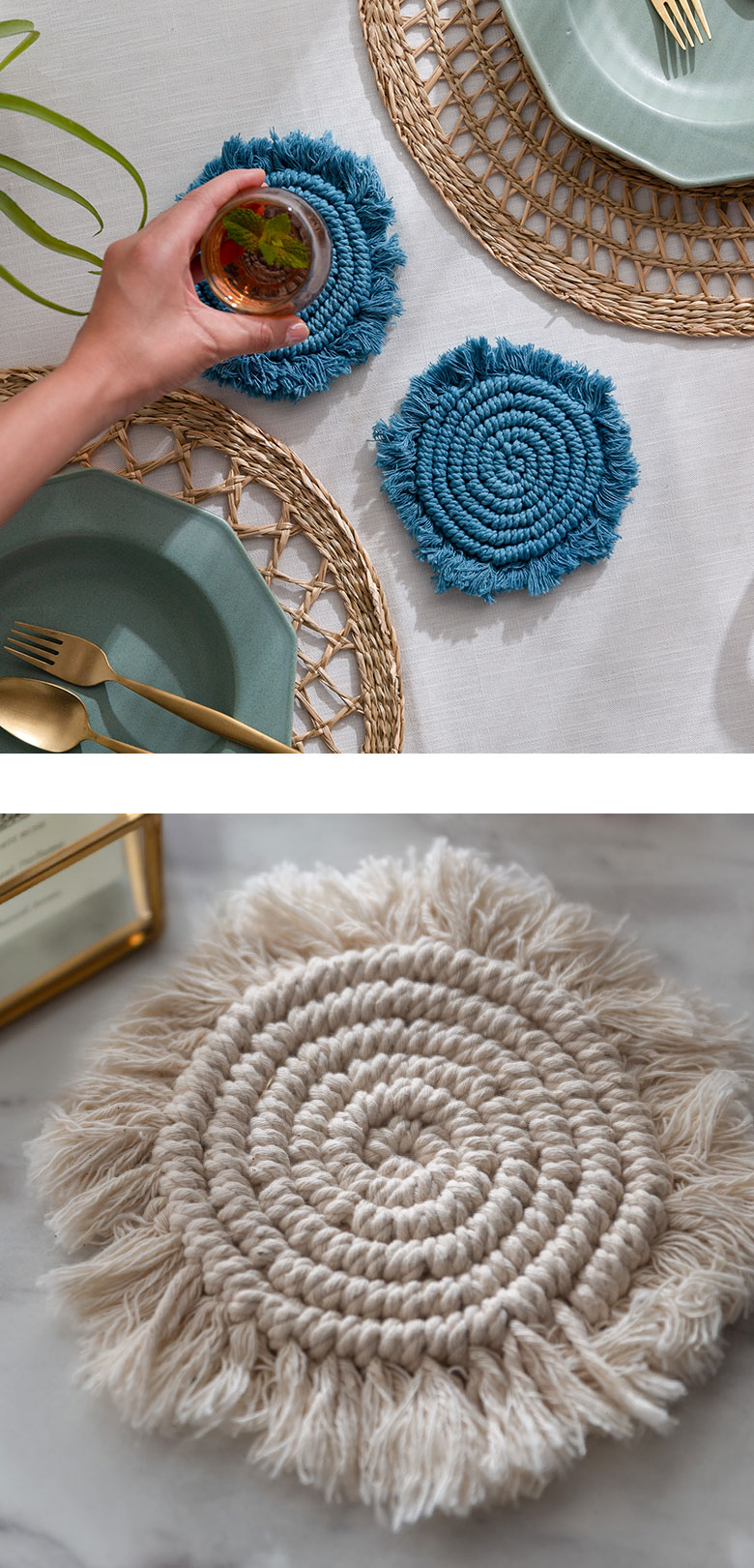 インドの職人のハンドメイドで作られた、繊細なマクラメ編みが魅力。