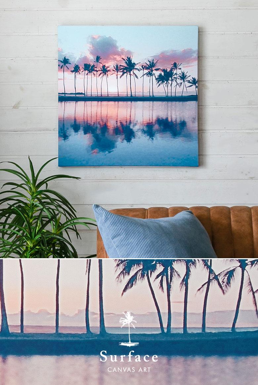 穏やかな海辺に静けさ漂うキャンバスアート。サーフェイス