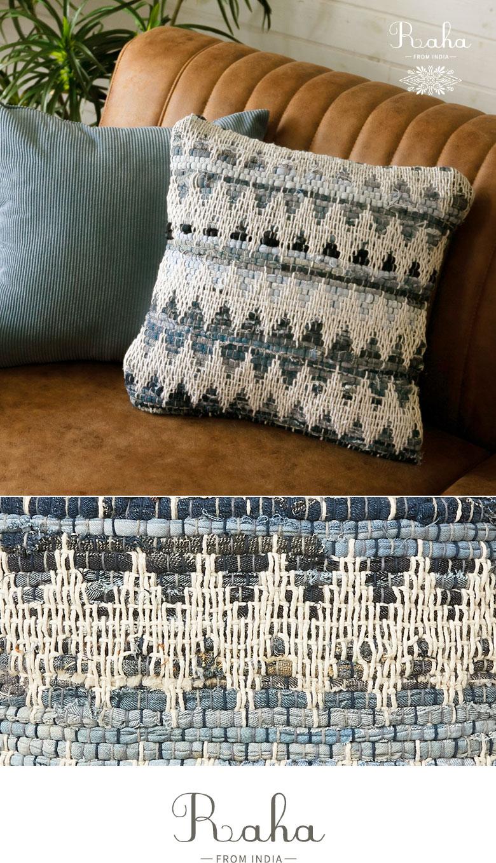 クッションカバー。デニム製。ブルー。シェブロン編み。