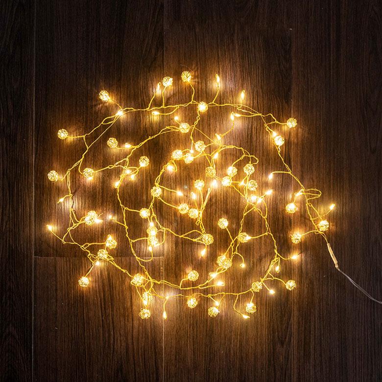LED ワイヤーライト ベントボール 全長約1.5m 約100球 [ゴールド/シルバー]