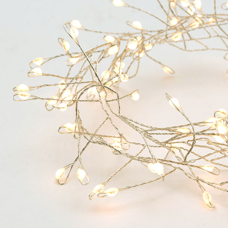 LED ワイヤーライト グロート 全長約1.5m 約120球 [コッパー/シルバー]