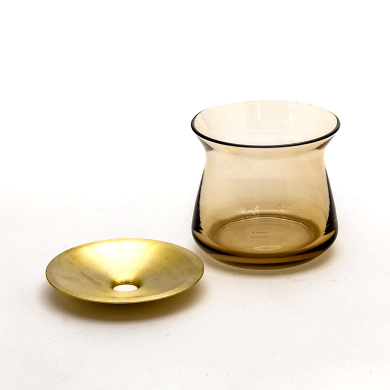 ガラスと真鍮のフラワーベース S[クリア/ブラウン]