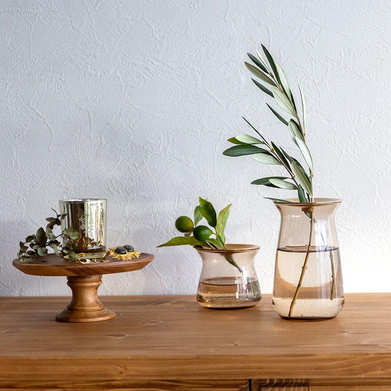 ガラスと真鍮のフラワーベース L[クリア/ブラウン]