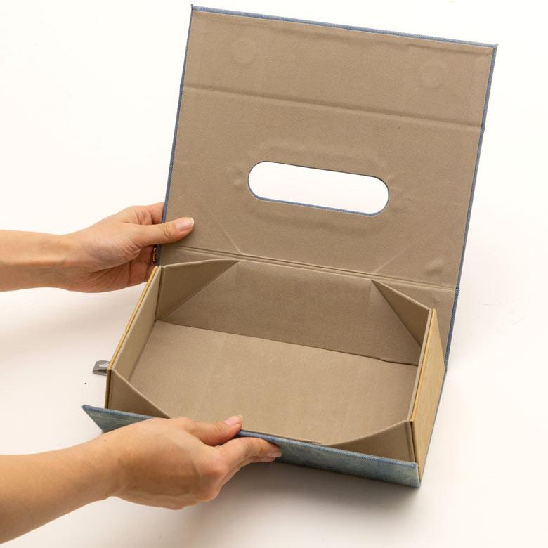 しっかりとしたボックス型のティッシュケースに変身します