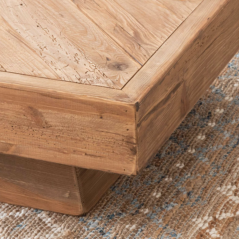 古材の寄木ローテーブル