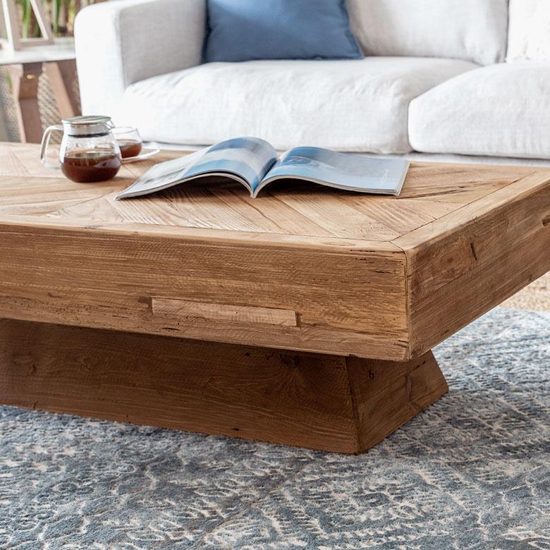 古材の寄木ローテーブル長方形