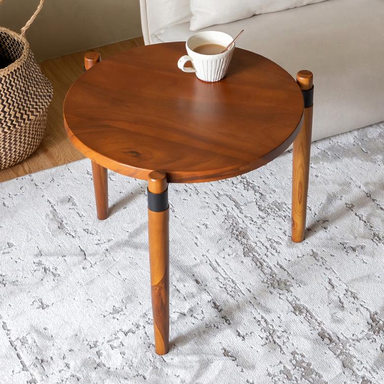 天然木モンキーポッドのラウンドテーブル Sサイズ