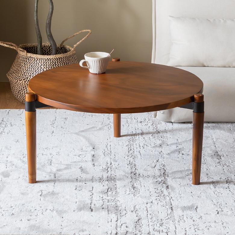 天然木モンキーポッドのラウンドテーブル Lサイズ